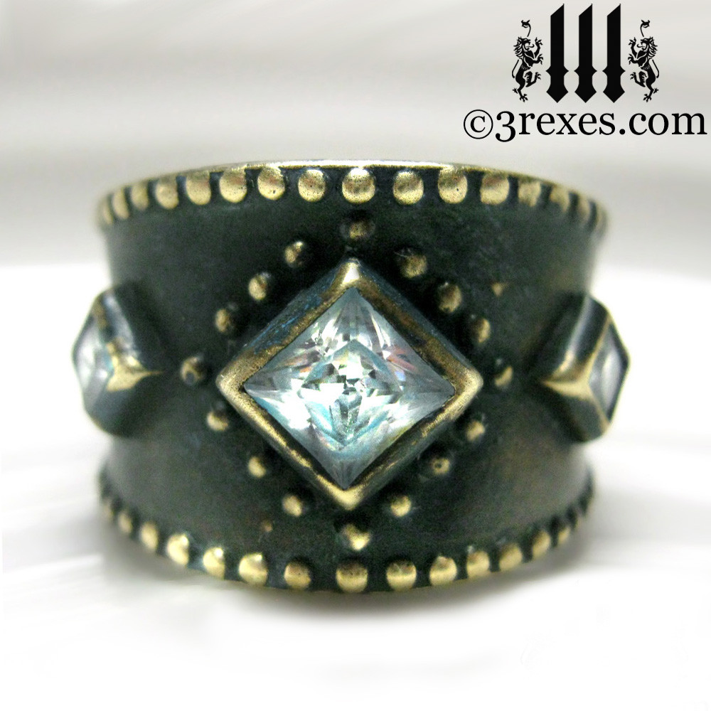 medieval ring with white cz