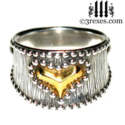 medieval studded gold heart ring with 22kt gold vermeil heart
