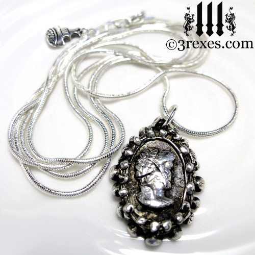 haunted ghost cameo necklace one of a kind