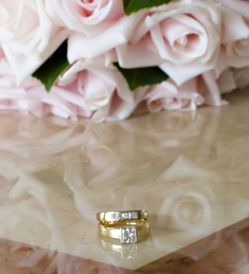 Wedding Rings Anniversary Flowers Pale Pink Roses