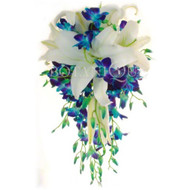 Large Blue orchid and white oriental lily cascade bridal bouquet