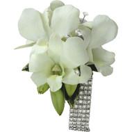 Corsage of White Orchids diamante wrist band.