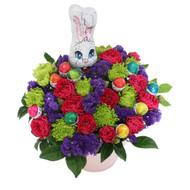 April Easter Basket Flowers Eggs Rabbit bunny
