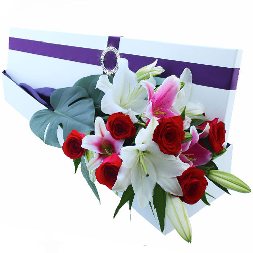 Alice - Oriental lilies and roses in our signature Hollywood box