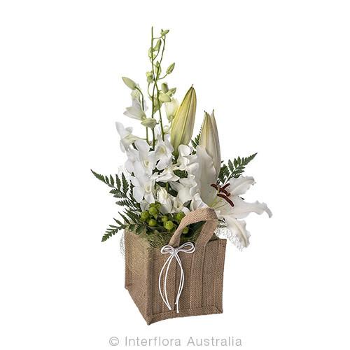 Elegant arrangement in a hessian bag - Aster