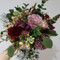 Seasonal wedding flowers - burgundy, peach and gums