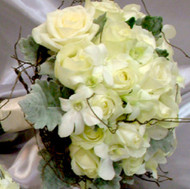 rose and orchid wedding package - white roses and white orchids