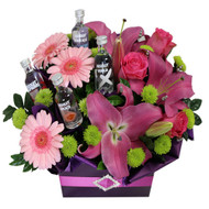 Absolut Vodka and flowers for home or workplace delivery Gold Coast - Botanique Flowers and Gifts
