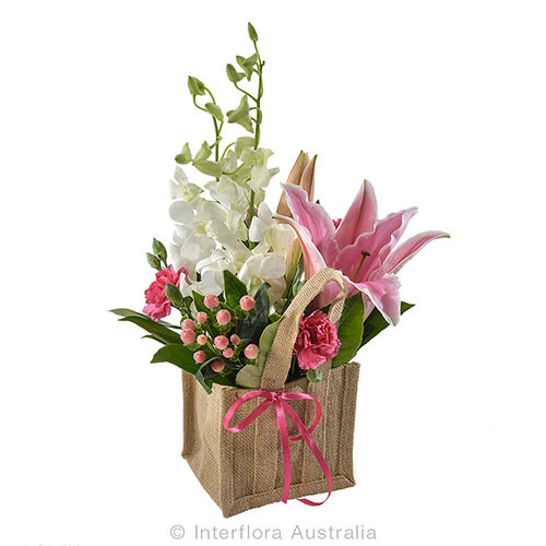Small Mother's Day Arrangement in a hessian bag - Botanique Flowers and Gifts