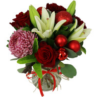 Jingles - mixed seasonal flower bouquet in glass vase