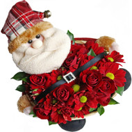 Santa Gift Basket, filled with roses and chrysanthemums
