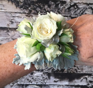White spray rose Corsage with silver dusty miller foliage