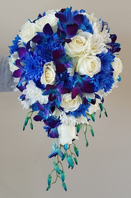 Medium, Blue orchid, Rose and Chrysanthemum tear drop Bouquet - Botanique Flowers