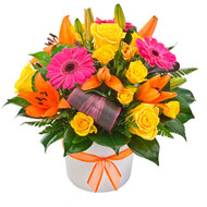 Popular Bright Flower Delivery Gold Coast Australia - Viva - Yellow flowers - hot pink flowers - orange flowers.