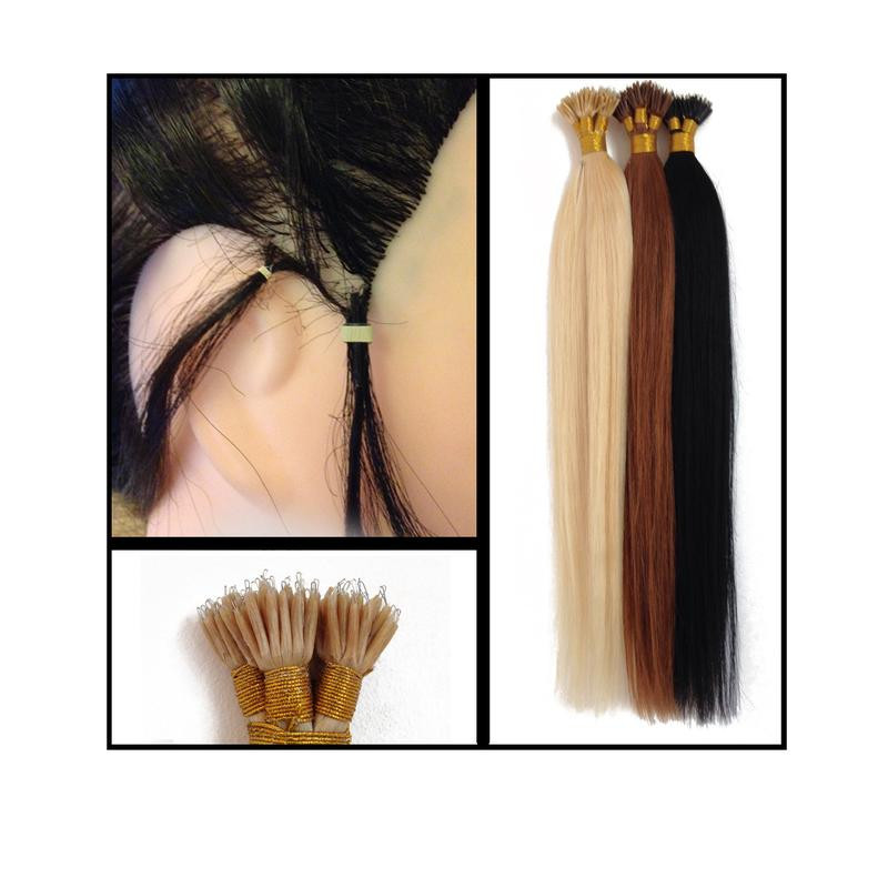 20 Inch Nano Tip Human Hair Extension 1g 8 Light Brown
