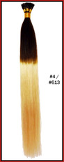 "20"" Stick Tip Human Hair Extension Reverse Dip Dye #4/#613"