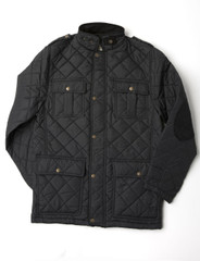 Mens Quilted Jacket (3047 Black) Fleece Lined for warmth.