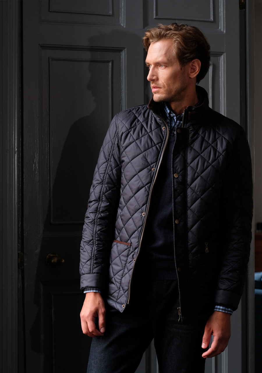 Mens Quilted Jacket In Navy Blue By Vedoneire Of Ireland