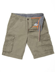 Mens Cotton Cargo Shorts (3601 Khaki) by Vedoneire of Ireland - dark green safari style