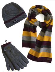 Men's Hat Glove Scarf set (3022) Grey Stripe