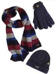 Men's Hat Glove Scarf set (3022) Navy Denim