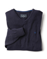 Men's Fine Gauge Cotton V-Neck Jumper (4200) Deep Navy