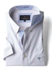 Men's Short Sleeve Cotton Shirt (2296) Pink Green Stripe