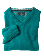 Men's Wool V-Neck Jumper (4500) Peacock Feather