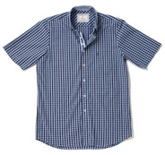 Men's Short Sleeve Cotton Shirt (2296 Ridge Edge) navy blue small check