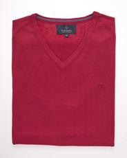 Men's Fine Gauge Cotton V-Neck Sleeveless Jumper (4220 Sangria) Red