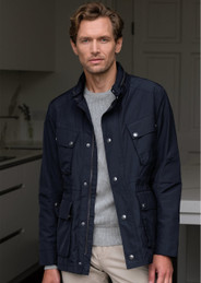Men's Water Resistant Casual Jacket (3097 Navy) raincoat style blazer coat