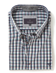 Men's Short Sleeve Cotton Shirt (2296 Andaman) multicolour check