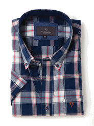 Men's Soft Wash Cotton Long Sleeve Check Shirt (2274 Melville) navy red white check