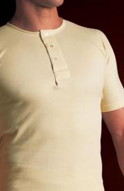 Mens Natural Cotton Button Front Underwear Vest Tee (453)