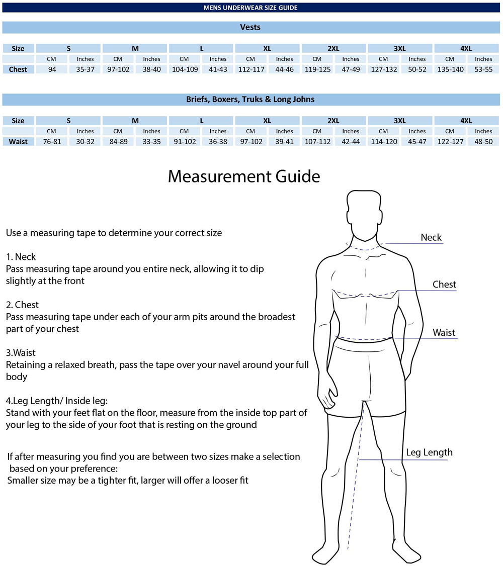 Mens Underwear Size Guide