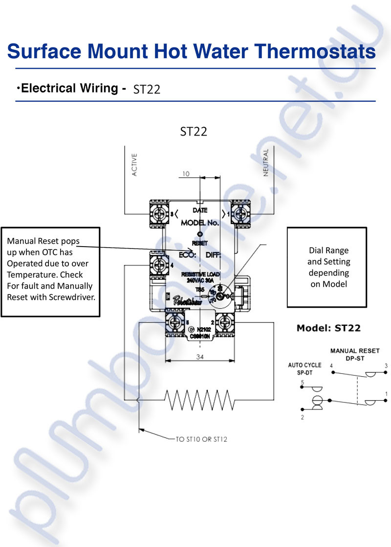 Robertshaw Hot Water Thermostat Wiring Diagram: ST 22-60K Surface Mount Hot  Water ,