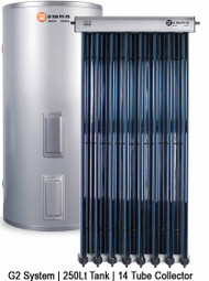 Evacuated Tube Solar Hot Water | Stainless Steel Electric | 250Lt 14 Tube