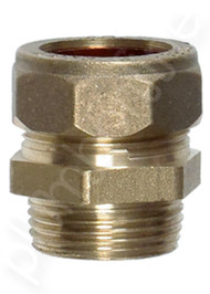 "Brass compression joiner 22mm x 20mm (3/4"") Male Thread - Side View"