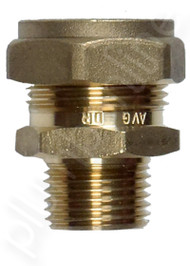Brass compression joiner 22mm x 15 Male - Side View