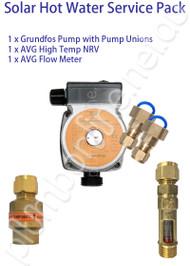 Solar Hot Water Service Pack(std) - Grundfos solar pump | pump unions | Non Return Valve | Flow Meter