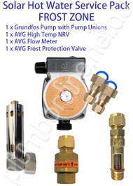 Solar Hot Water Service Pack - Grundfos solar pump | pump unions | Non Return Valve | Flow Meter | Frost Protection Valve