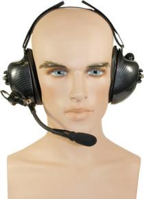 Noise-Canceling Dual Muff Carbon Fiber Headset [Kenwood ProTalk TK-2100 TK-2200 TK-2300 TK-2400]