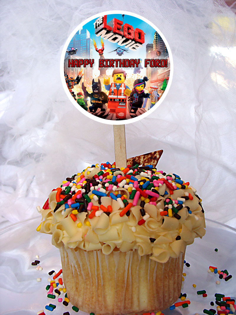 The Lego Movie Personalized Cupcake Toppers