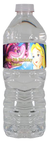 Alice in Wonderland personalized water bottle label.
