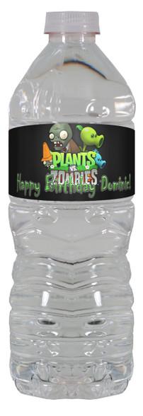 Plants vs Zombies personalized water bottle labels