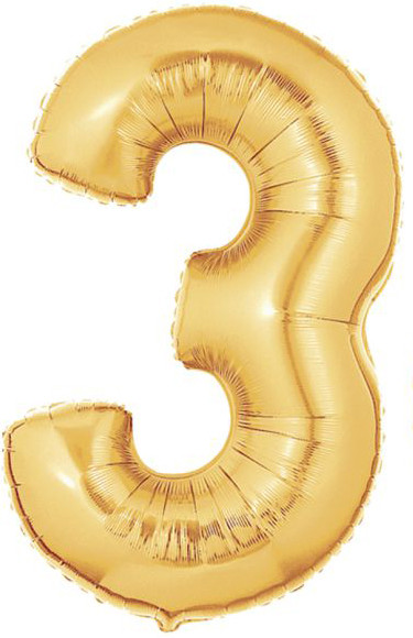 Gold Mylar Balloons number 3