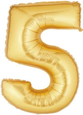 Gold Mylar Balloons number 5