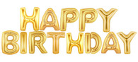 Happy Birthday Gold Mylar Balloon