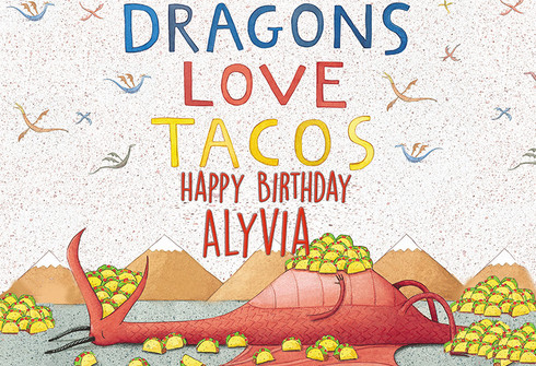 Dragon Loves Tacos Personalized Poster