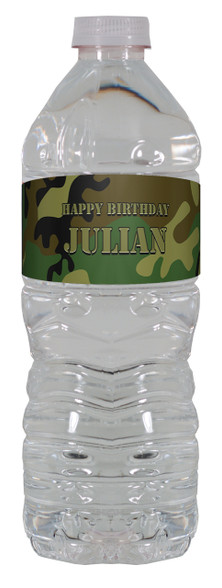 Camouflage water bottle labels